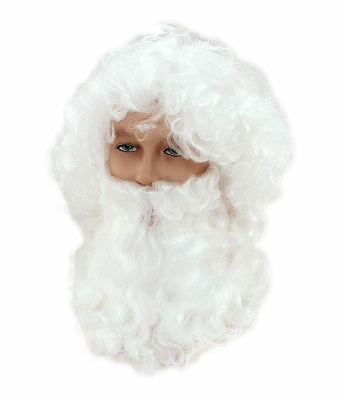 quality santa claus father christmas white wig beard and
