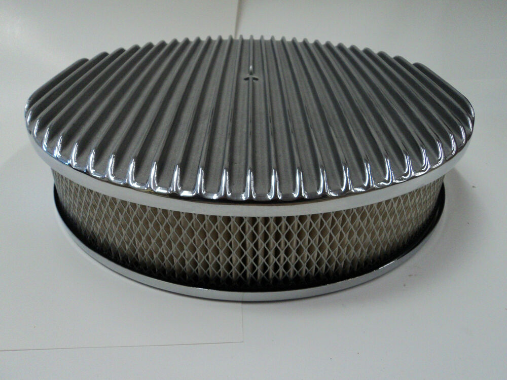 Classic Air Cleaners : Quot round finned polished aluminum classic nostalgia air