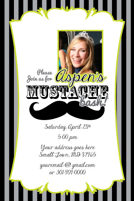 Mustache Bash Printable Birthday Party Invitation File