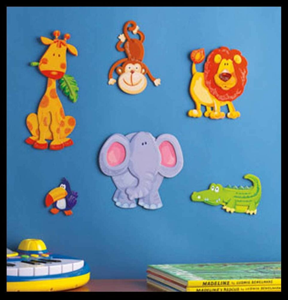 Kids room art 3d wall decor baby jungle nursery stickers for Baby jungle safari wall mural