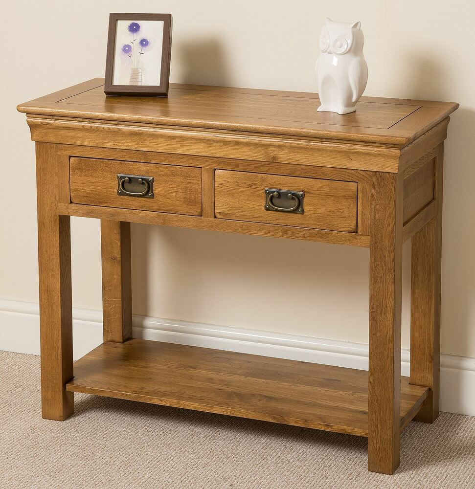 Solid Wood Console Tables With Storage ~ French rustic solid oak wood console hall table drawer