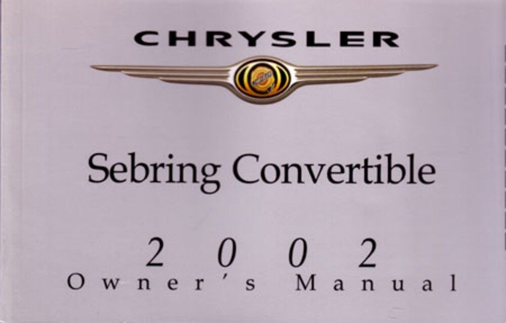 2002 Chrysler Sebring Convertible Owners Manual User Guide