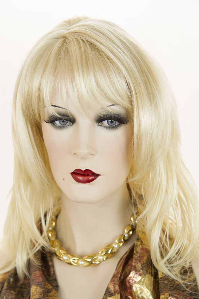 Light Pale Blonde Blonde Medium Wavy Wigs Ebay