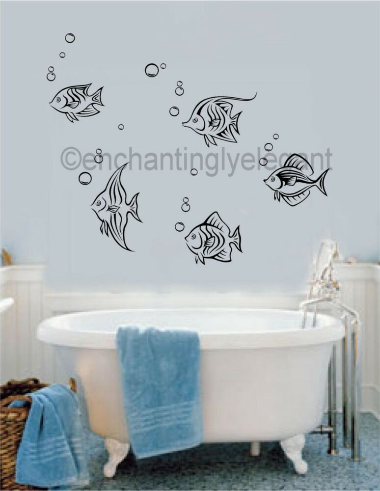 Fish with bubbles vinyl decal wall sticker bathroom decor for Bathroom fish decor