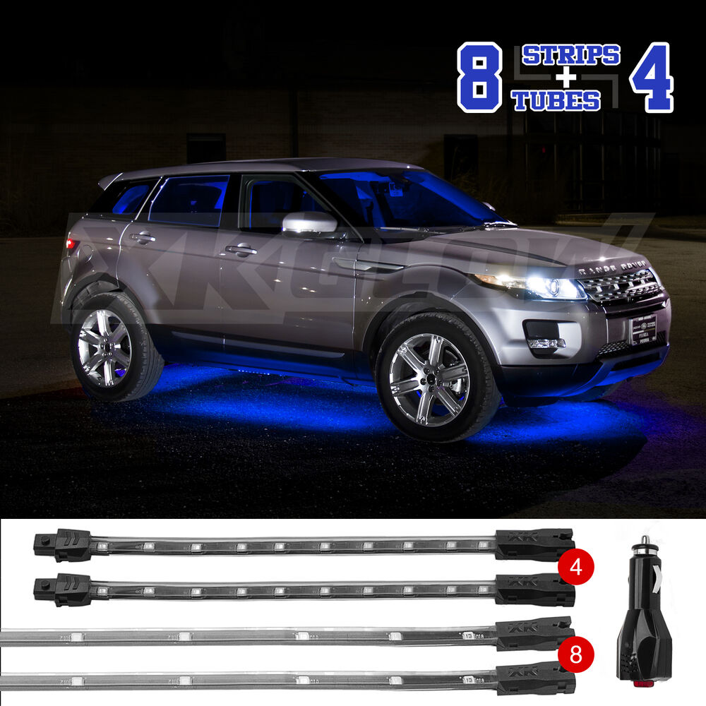 blue led undercar interior accent neon light kit w 3 mode memory 12pc tube ebay. Black Bedroom Furniture Sets. Home Design Ideas