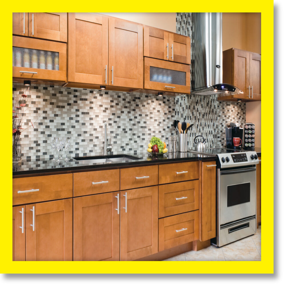 All solid wood maple kitchen cabinets 10x10 rta newport ebay for Solid wood cabinets