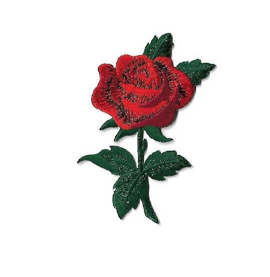 Rose gardening red w leaves embroidered iron on