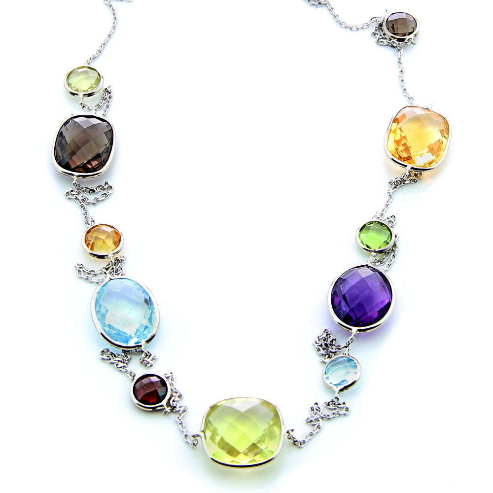 14k white gold necklace with multi colored fancy cut