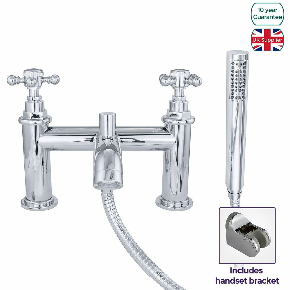 Edwardian Traditional Chrome Bath Shower Mixer Tap Solid
