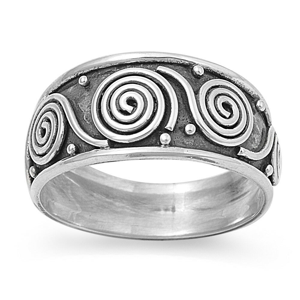 925 sterling silver spiral circle design bali ring size 5