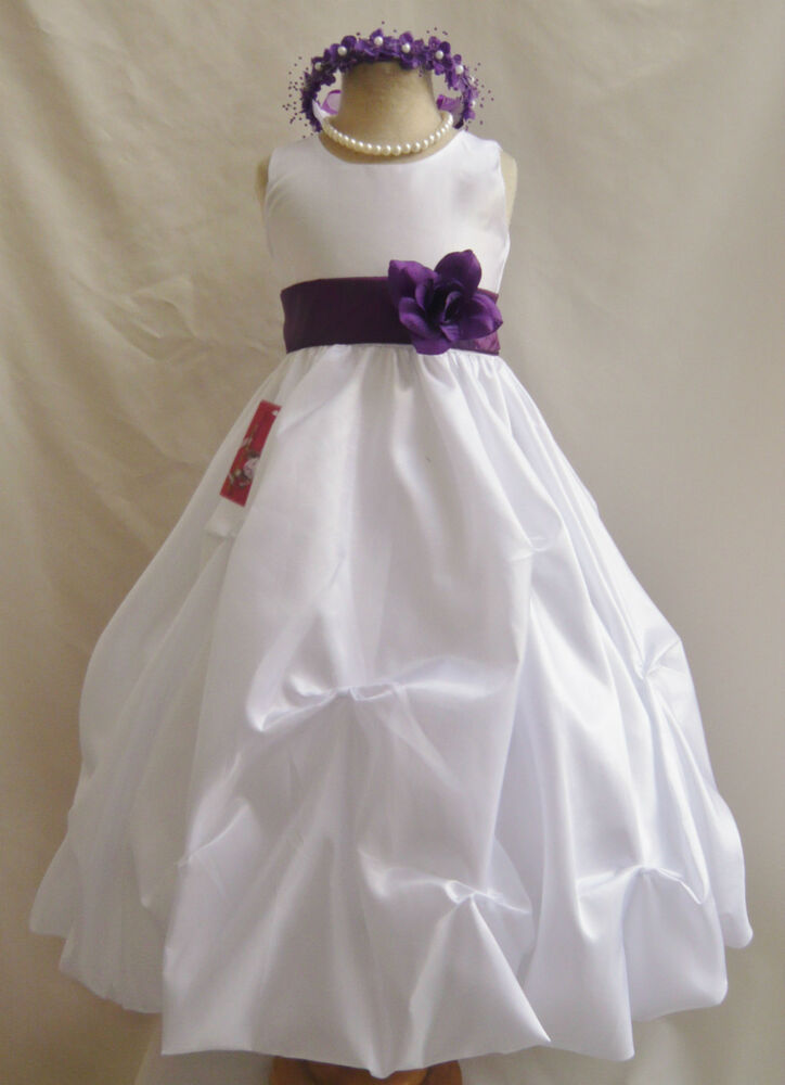 flower girl dresses wedding nwt white purple lapis wedding pageant bridesmaid formal 4182