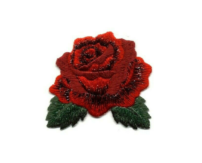 Rose single red bloom quot w fully embroidered