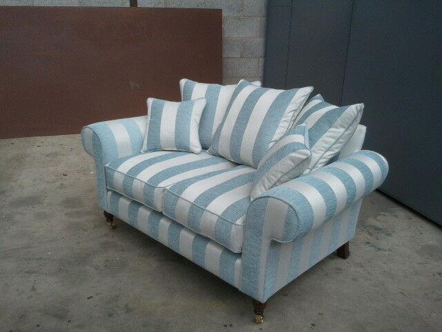bespoke 2 seater sofa settee duck egg stripe ebay. Black Bedroom Furniture Sets. Home Design Ideas