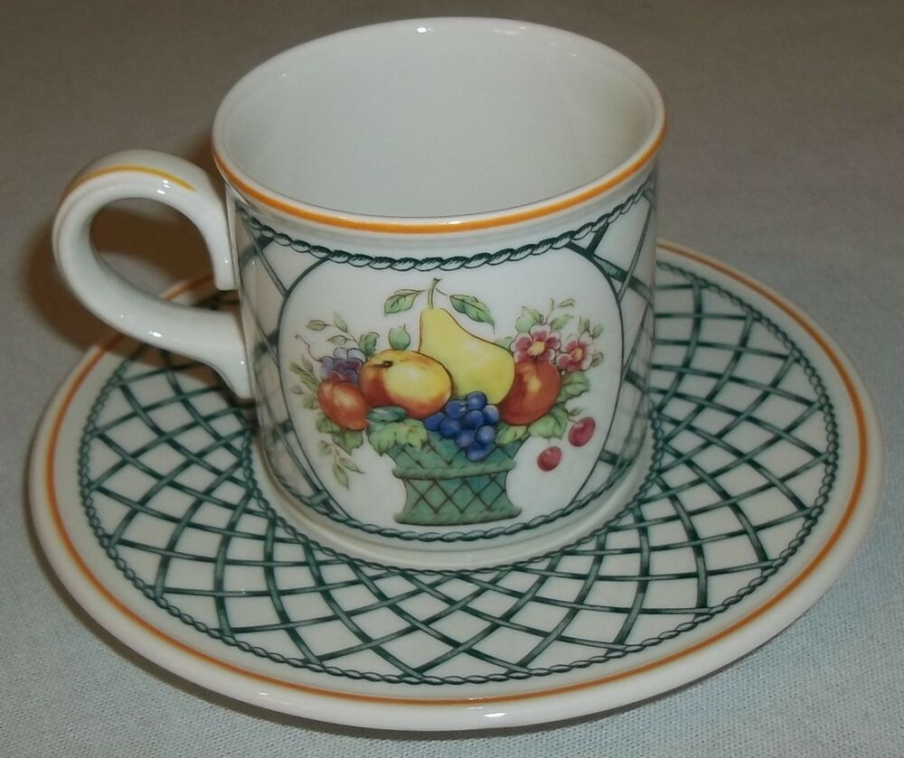 villeroy and boch basket espresso cup and saucer ebay. Black Bedroom Furniture Sets. Home Design Ideas