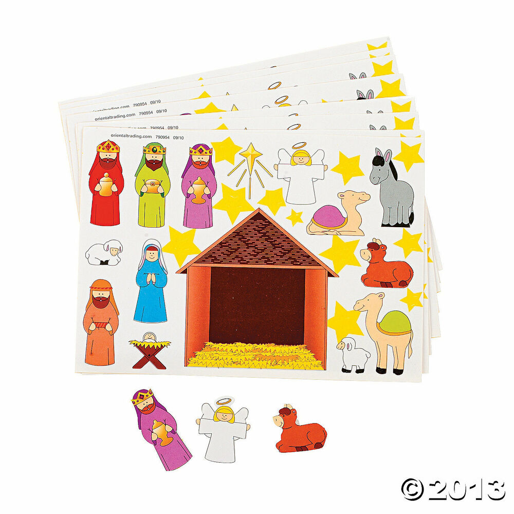 12 christmas party favors make a nativity scene sticker for Nativity crafts to make