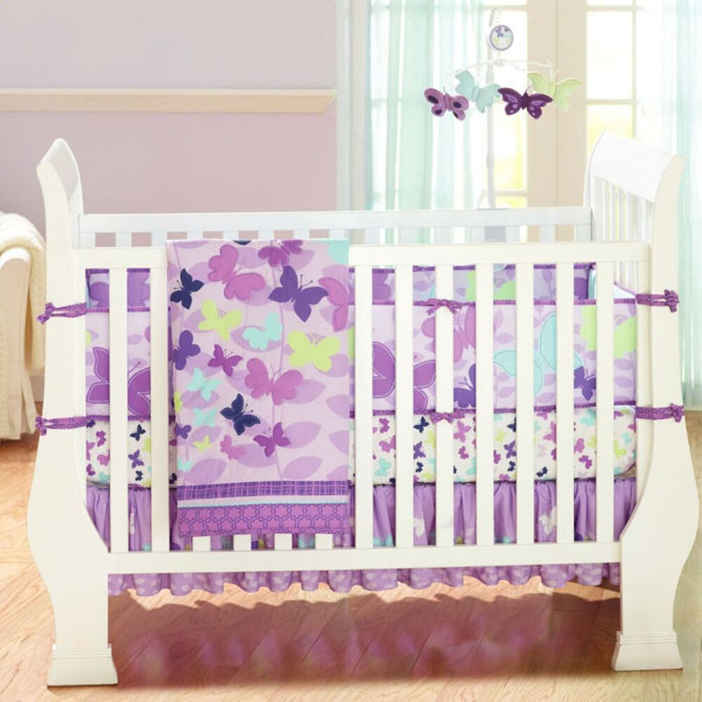 Butterly Purple 4pcs Baby Girl Crib Bedding Set Quilt