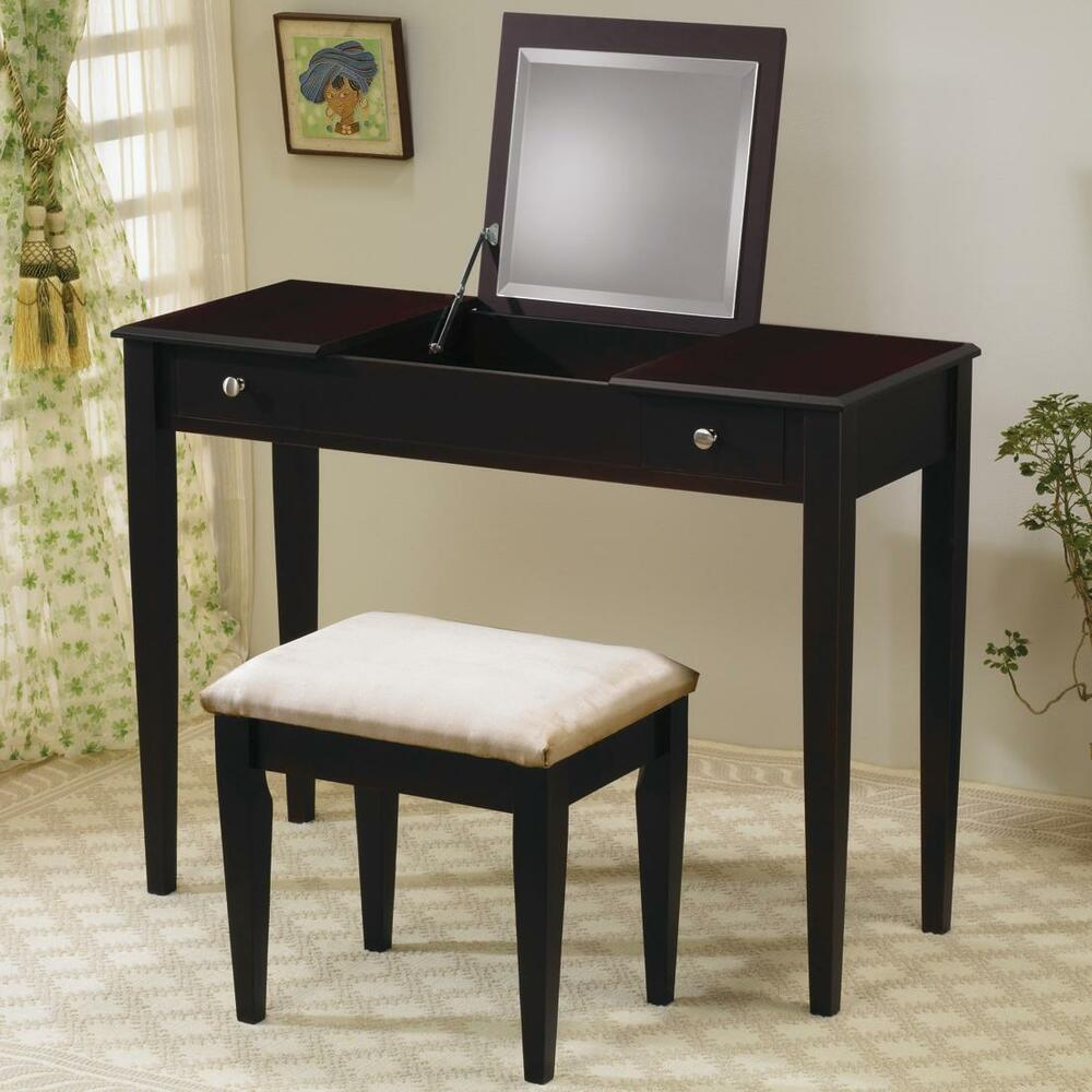 Cappuccino vanity mirror dressing table stool bedroom for Vanity table set