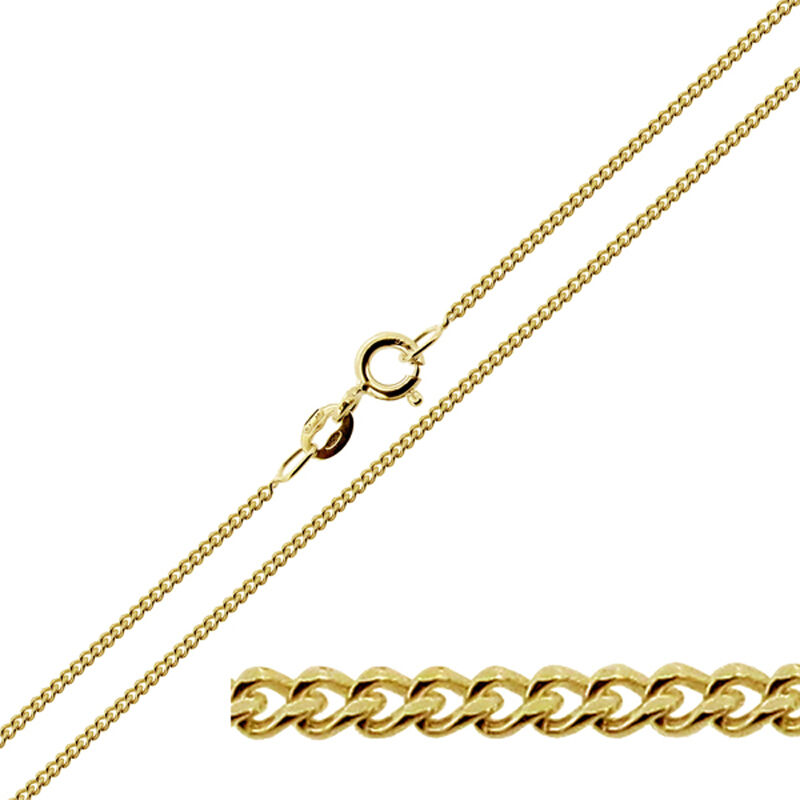 9ct Gold Plated On Sterling Silver 1 8mm Curb Link Chain