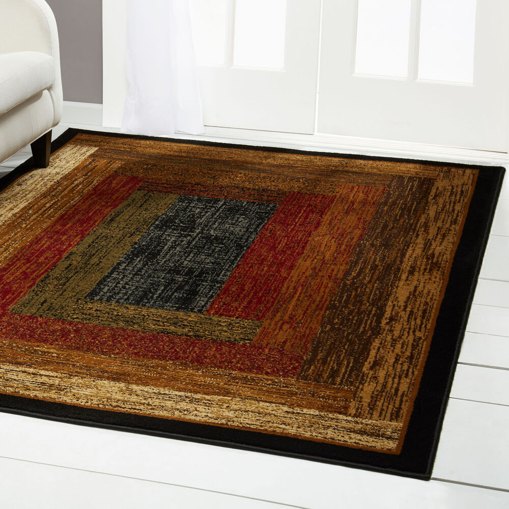 Red green beige tan bordered modern geometric area rug for Red area rugs contemporary