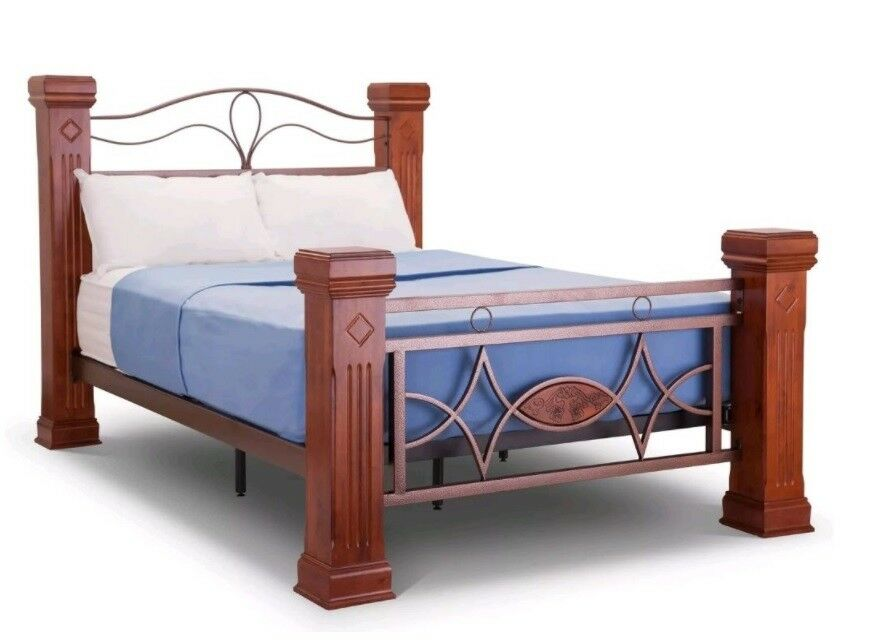 Omega beautiful wood post metalwork bed frame 4ft6 for Double twin bed frame