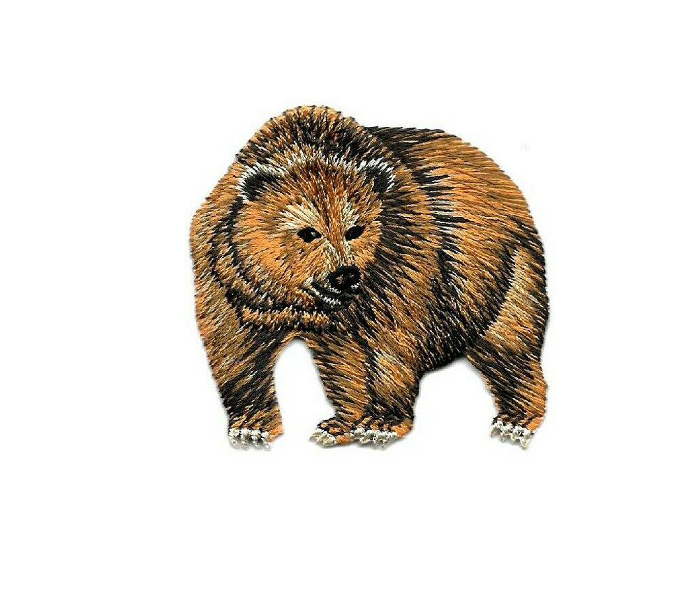 Bear grizzly wild animals embroidered iron on