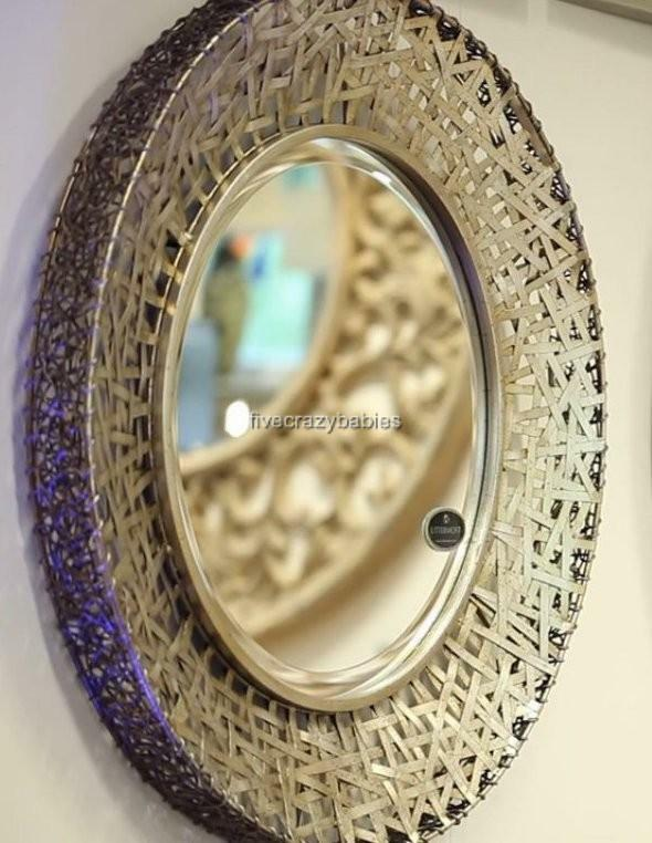 Contemporary silver messed metal wall mirror modern extra for Large silver modern mirror
