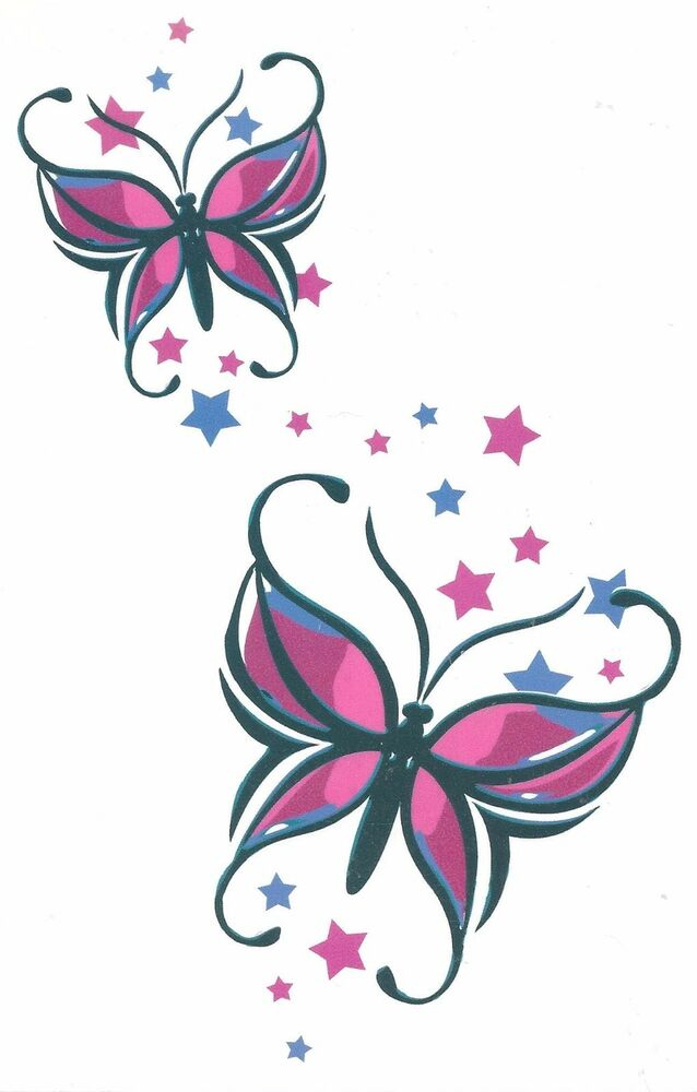butterfly stars sheet tat x 7 big size brand new design temporary tattoo ebay. Black Bedroom Furniture Sets. Home Design Ideas