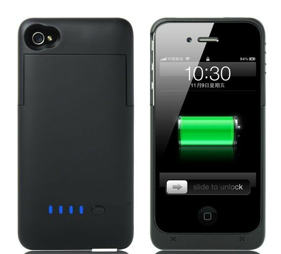 iPHONE 4 4S 1900mAh CHARGING BATTERY CASE PORTABLE CHARGER ...