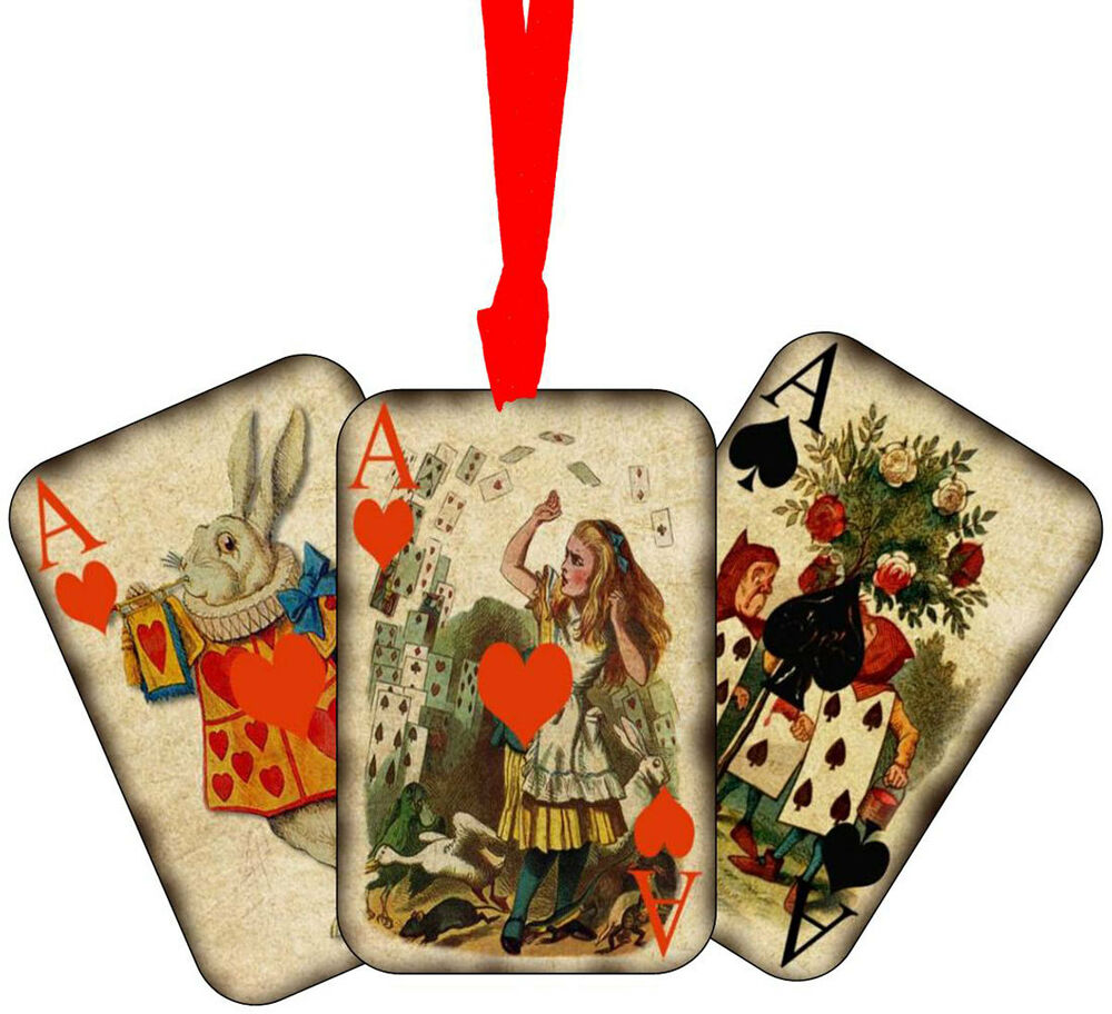 Vintage inspired 8 alice in wonderland playing cards tags for Alice in wonderland crafts