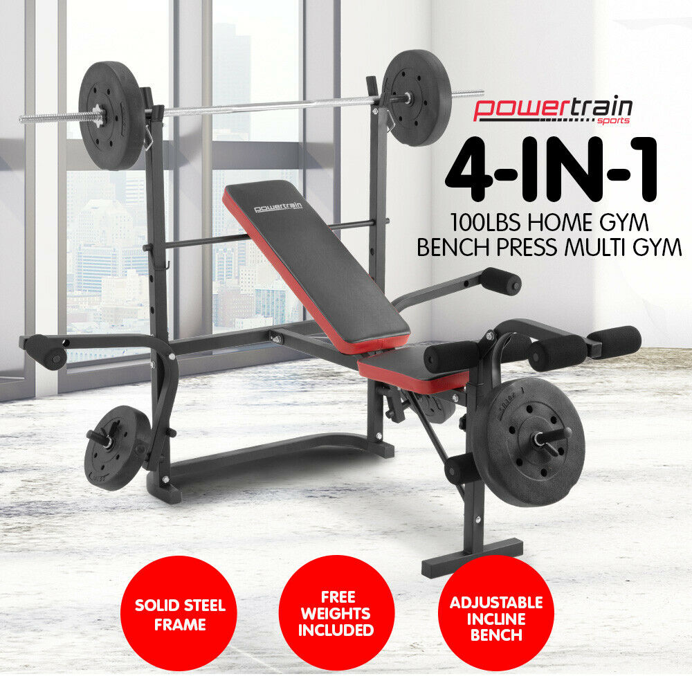MULTISTATION BENCH PRESS PLUS BARBELL AND WEIGHTS HOME GYM