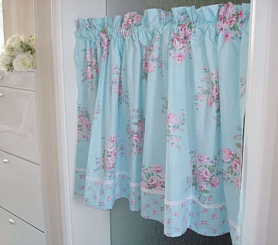 1 PC Charming Country Style Blue Flower Print Curtain/Cafe