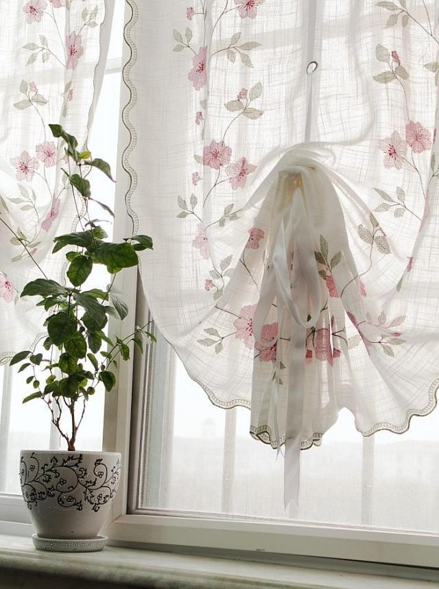 Country Sheer Voile Pull Up Curtain with Rose Embroidery Ruffle ...