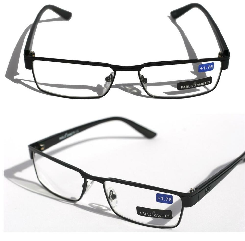 pablo zanetti metal reading glasses slim rectangle black