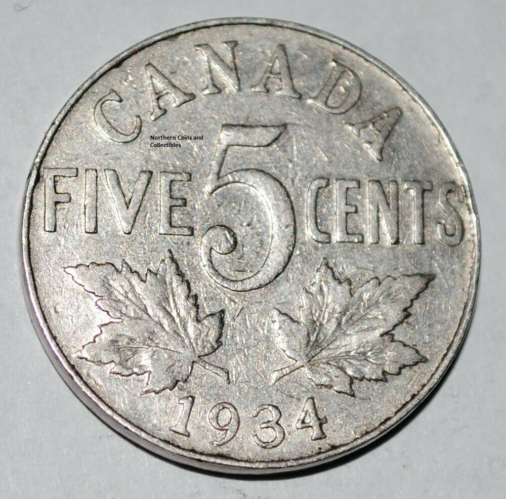 canada 1934 5 cents george v canadian nickel ebay. Black Bedroom Furniture Sets. Home Design Ideas