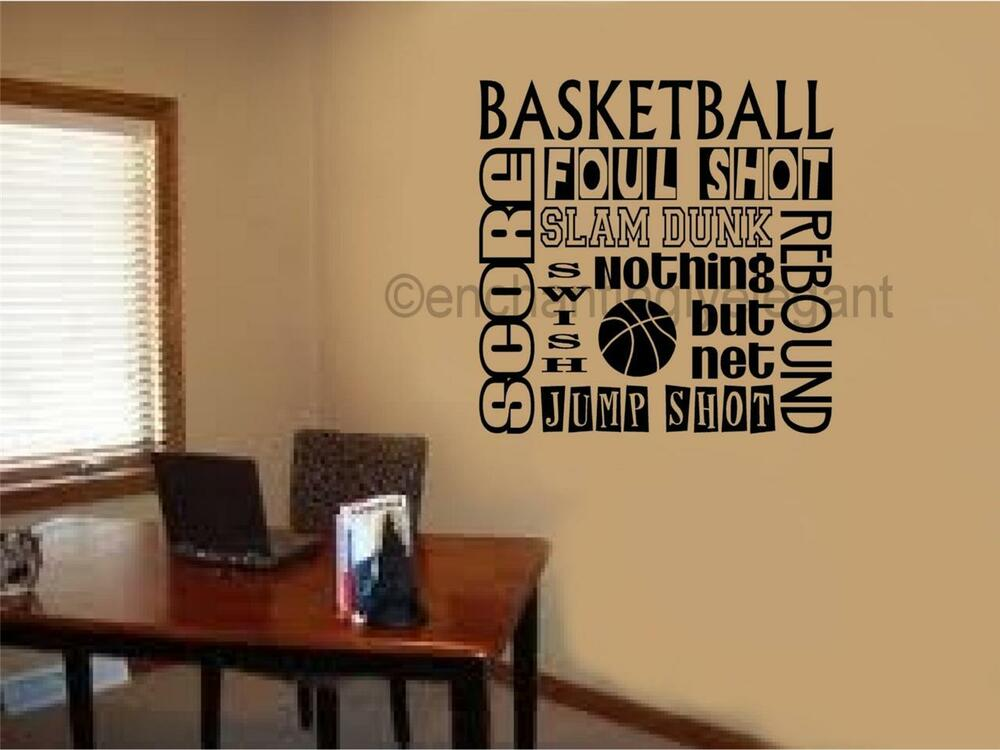 Basketball Sports Subway Art Vinyl Decal Wall Sticker