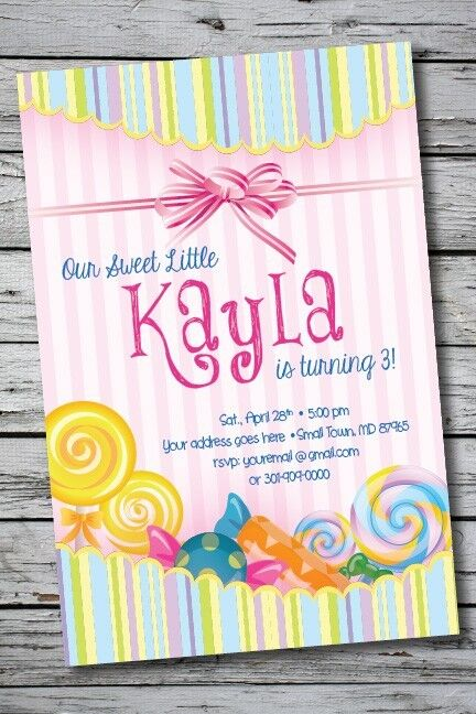 candy land sweets printable birthday party invitation 1st
