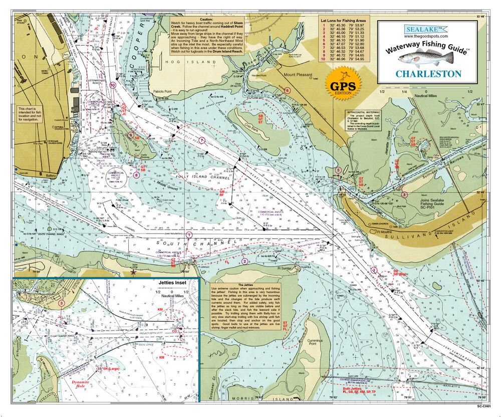Sealake south carolina charleston fishing map chart print for South carolina fishing