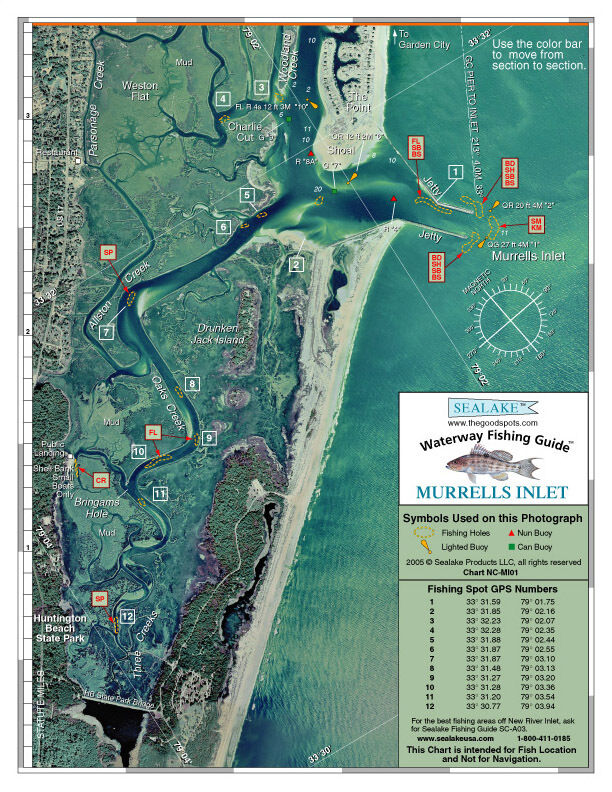 Sealake south carolina murrells inlet fishing map chart for South carolina fishing