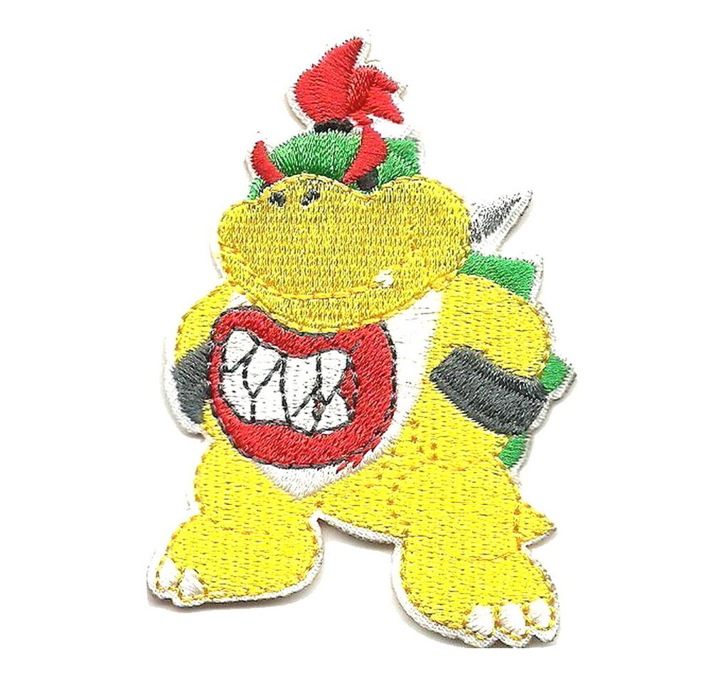 super mario brothers bowser logo appliques embroidered iron on patch ebay. Black Bedroom Furniture Sets. Home Design Ideas