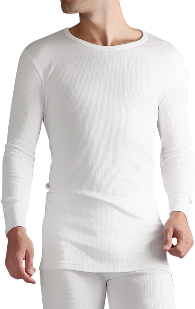 Mens heat holder thermal long sleeve vest t shirt white ebay for White thermal t shirt