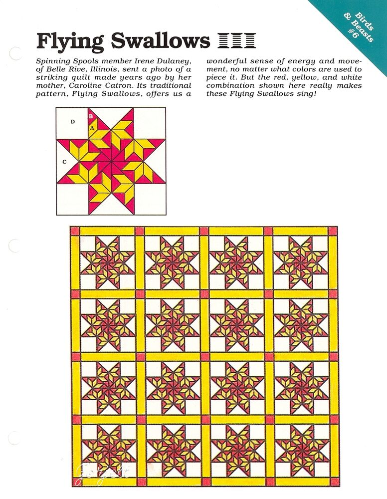 Flying Swallows Quilt Block Amp Quilt Sewing Pattern