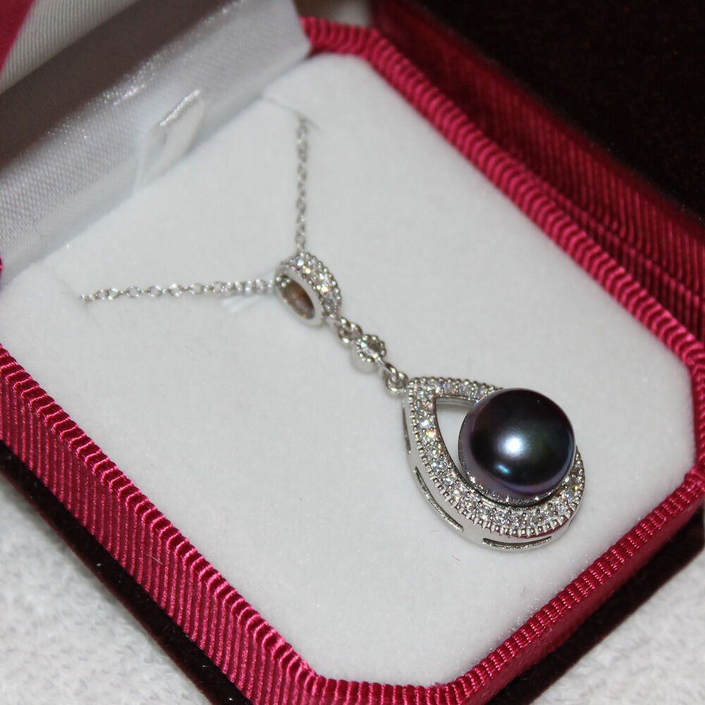 Necklace With A Pearl: Genuine STERLING SILVER Huge Peacock Black Pearl Pendant