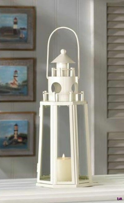 Chic white nautical lighthouse lantern shabby candle