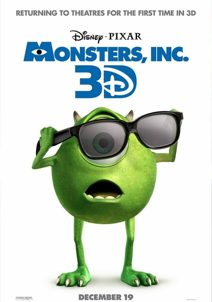 MONSTERS INC 3D 2012 Re-release DOUBLE SIDED ORIGINAL ...
