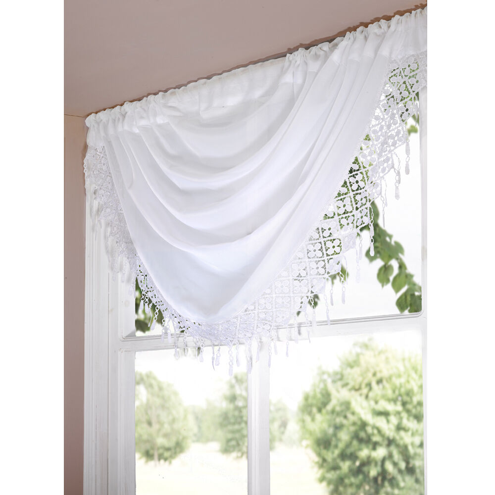 DAISY MACRAME READY MADE VOILE SWAG NET CURTAIN DECORATIVE