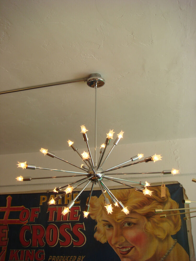 Polished Chrome Sputnik Starburst Light Fixture Chandelier