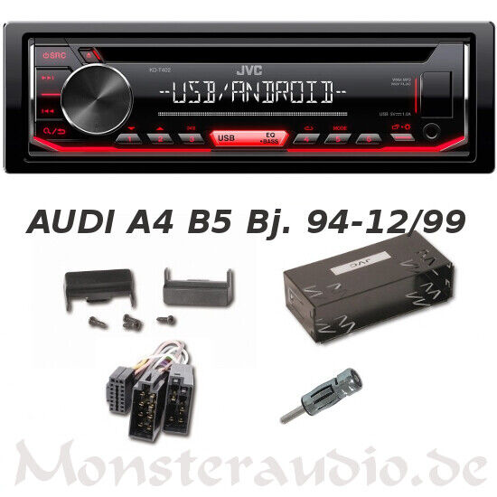 jvc autoradio audi a4 b5 bj 94 12 99 mp3 usb cd radio. Black Bedroom Furniture Sets. Home Design Ideas
