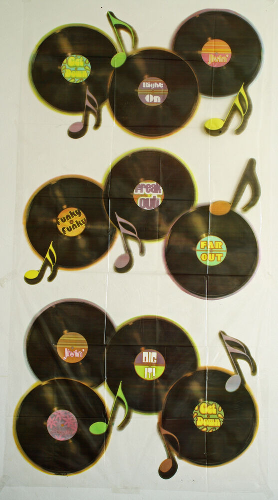70s or 80s party decoration large records or lps scene for Decoration 70s party