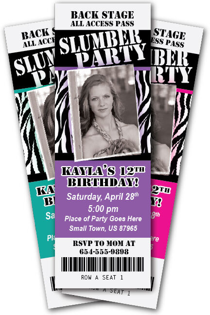 slumber party invitation zebra print ticket invite sleepover birthday photo cute