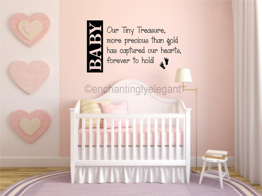 Baby our tiny treasure nursery room decor vinyl decal wall for Baby room decoration letters
